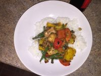 Chicken stir fry with vegetables and black beans