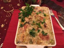 Chicken and leek casserole bake