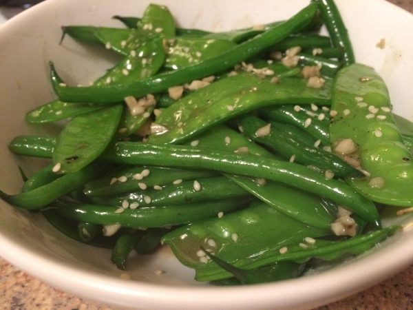 green beans, mange tout and garlic stir fry