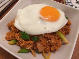 kimchi pork mince fried rice with fried egg