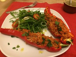 roasted romano peppers with pork mince and wild rice